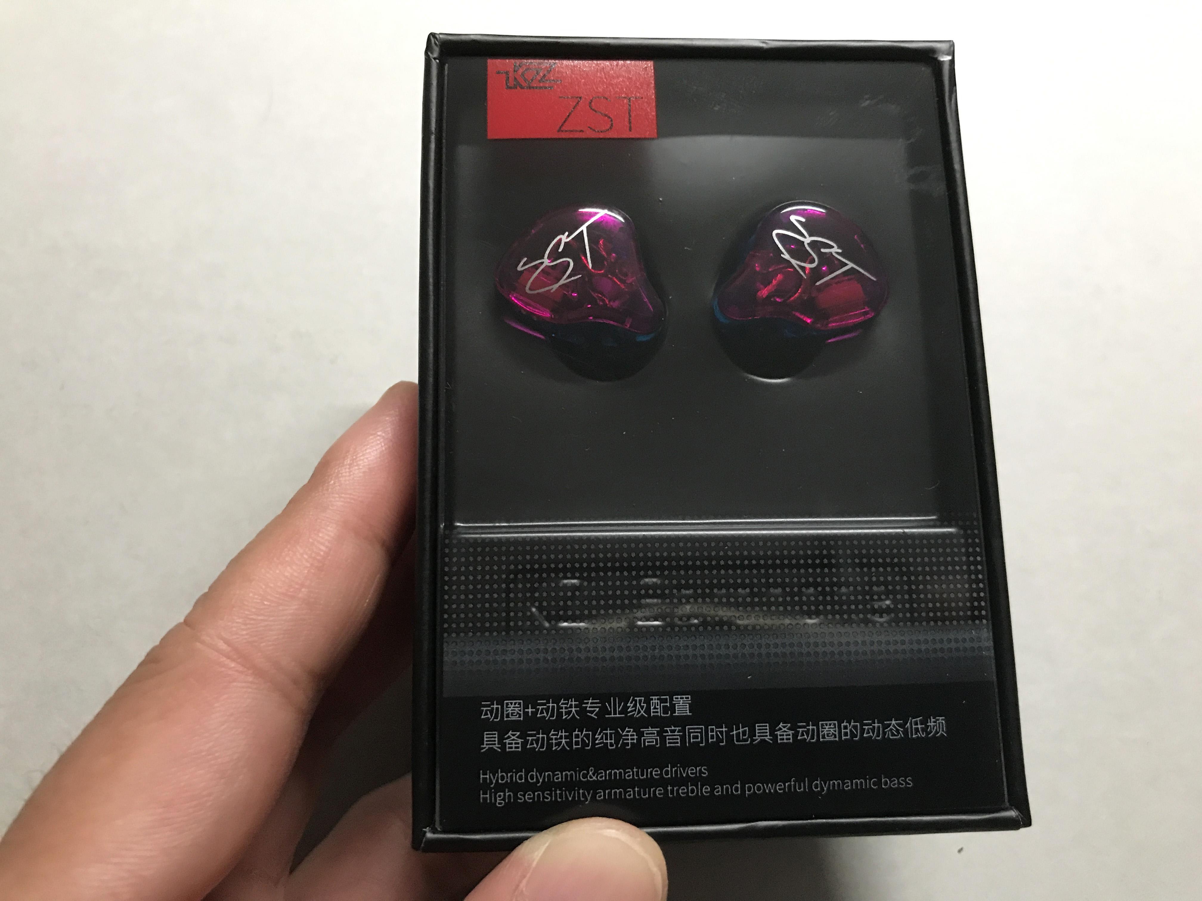 KZ ZST ハイブリッドドライバイヤホン 1BA+1DD 高性能インイヤーイヤホン (紫 with microphone)
